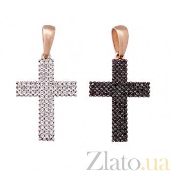 Декоративный крестик из золота с цирконами Вивея HUF--11522-б/ч84