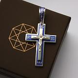 Серебряный крест с синей эмалью Ясное небо
