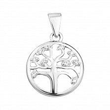 Серебряный родированный кулон Дерево Жизни с белыми фианитами