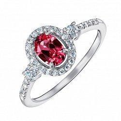 Серебряное кольцо с рубином и фианитами 000132339