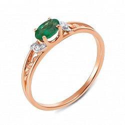 Кольцо в комбинированном цвете золота с изумрудом и бриллиантами с родированием 000134586