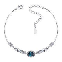 Серебрянный браслет с сапфиром и фианитами в якорном плетении 000131823