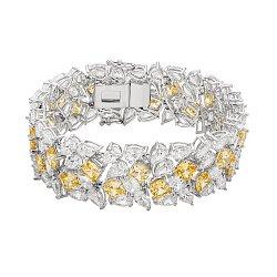 Серебряный браслет с желтыми и белыми фианитами 000136622