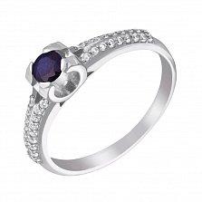 Серебряное кольцо Эдея с сапфиром и фианитами