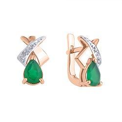 Золотые серьги Лира с зелеными агатами и бриллиантами