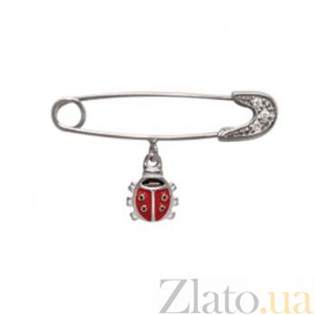 Серебряная булавка с цирконием Божья коровка 000035888