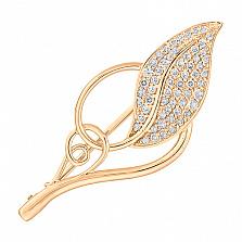 Золотая брошь с фианитами Морозный листик