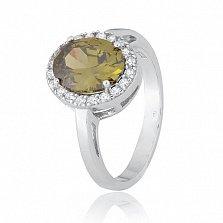 Серебряное кольцо с зеленым фианитом Корнелия