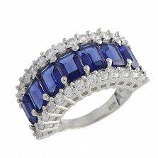 Серебряное кольцо Марлена с синтезированным сапфиром и фианитами