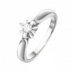 Кольцо из белого золота Лилия с бриллиантом