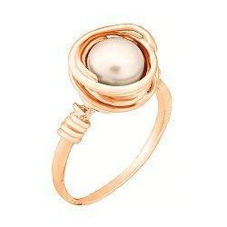 Позолоченное серебряное кольцо с жемчугом 000028237