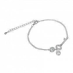 Серебряный браслет Ключик с жемчугом и фианитами 000070827