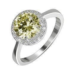 Серебряное кольцо с цирконием цвета хризолита 000028381