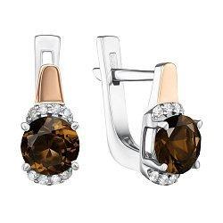 Серебряные серьги с золотыми накладками, раухтопазами и фианитами 000135063