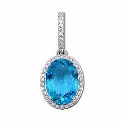 Серебряный кулон Лили с голубым кварцем и фианитами 000012631