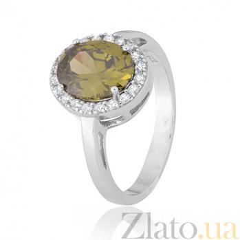 Серебряное кольцо с зеленым фианитом Корнелия 000028382