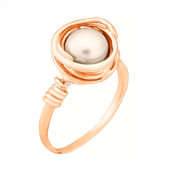 Позолоченное серебряное кольцо Морское сокровище с жемчугом 000028237