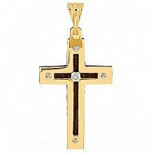 Золотой крест Пасифик с эбеновым деревом и бриллиантом