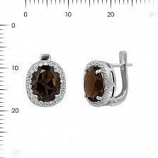 Серебряные серьги Таира с раухтопазом и фианитами