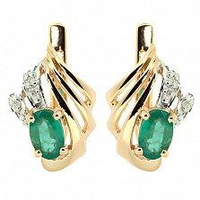 Золотые серьги с бриллиантами и изумрудами Лестер