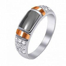 Серебряное кольцо Шарманка с гематитом, фианитами и золотыми накладками