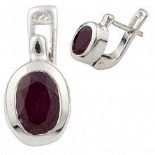 Серебряные серьги Элиза с рубином