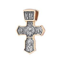 Серебряный крестик Святой символ с позолотой 000062536