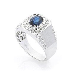 Перстень-печатка из белого золота с сапфиром и бриллиантами 000070372