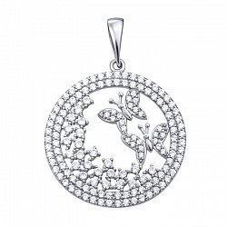 Серебряная подвеска с белыми фианитами 000103014