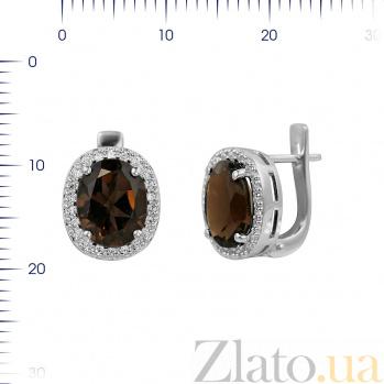 Серебряные серьги Таира с раухтопазом и фианитами 000081879