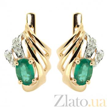 Золотые серьги с бриллиантами и изумрудами Лестер ZMX--BLE-1042_K