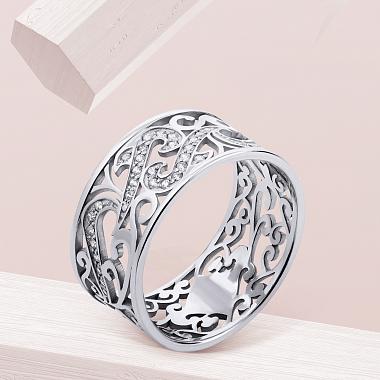 Кольцо из белого золота с фианитами 000003447