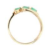 Золотое кольцо в красном цвете с изумрудами Божена