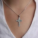 Золотой крестик с голубыми бриллиантами Небесное сияние