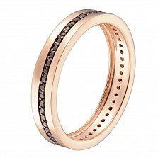 Обручальное кольцо в красном золоте Гортензия с черными фианитами