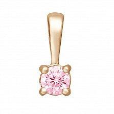 Золотой кулон Людмила в красном цвете с розовым цирконием