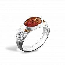 Серебряное кольцо Джастина с золотой накладкой, янтарем, фианитами и родием