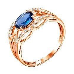 Кольцо из красного золота с лондон топазом и фианитами 000133744