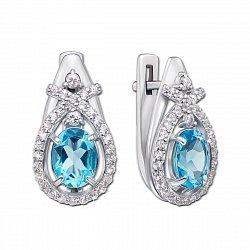 Серебряные серьги Эскиз с голубым кварцем и фианитами