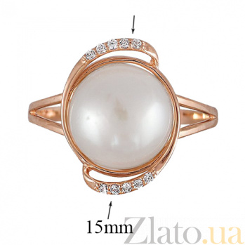 Золотое кольцо с жемчугом и фианитами Примроуз 000023203