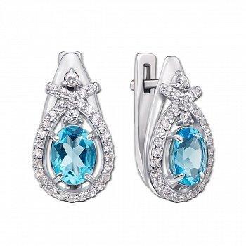 Серебряные серьги с голубым кварцем и фианитами 000012622