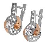 Серебряные серьги с золотыми вставками и цирконием Фортуна