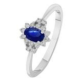 Золотое кольцо Чарлин с сапфиром и бриллиантом