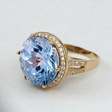 Золотое кольцо с топазом и фианитами Успех
