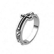Серебряное кольцо Символ веры с эмалью