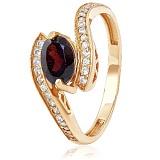 Золотое кольцо с гранатом и фианитами Эрика