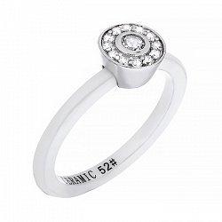 Керамическое кольцо Гвендолин с серебром и фианитами