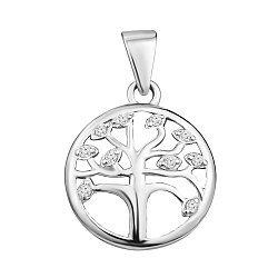 Серебряный кулон Дерево Жизни с белыми фианитами 000106955