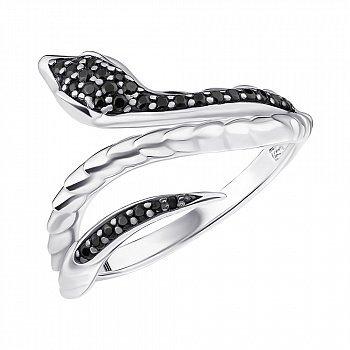 Серебряное кольцо Змея с фианитами 000148190