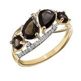 Кольцо из желтого золота Ия с раухтопазами и бриллиантами